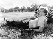 Casual Blue Jeans Prints - President Jimmy Carter Relaxing Print by Everett