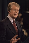 Gestures Prints - President Jimmy Carter Speaking Print by Everett