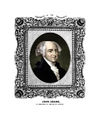 4th Of July Mixed Media Metal Prints - President John Adams Portrait  Metal Print by War Is Hell Store