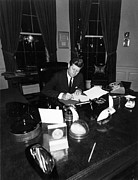 Oval Office Prints - President John F Kennedy In The Oval Print by Everett