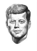Famous People Drawings - President John F. Kennedy by Murphy Elliott