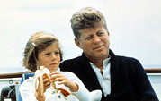 Father And Daughter Framed Prints - President John F. Kennedy Withdaughter Framed Print by Everett