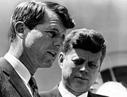 Bobby Kennedy Prints - President John Kennedy And Attorney Print by Everett