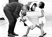President John Kennedy Is Greeted Print by Everett