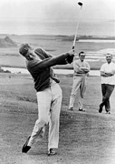 Candid Portraits Framed Prints - President John Kennedy Playing Golf Framed Print by Everett