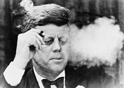 Candid Portraits Framed Prints - President John Kennedy, Smoking A Small Framed Print by Everett