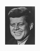 Leaders Mixed Media Framed Prints - President John Kennedy Framed Print by War Is Hell Store