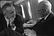 Former Presidents Framed Prints - President Johnson Met With Former Framed Print by Everett