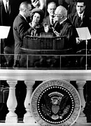 First Lady Photo Framed Prints - President Johnson Takes The Oath Framed Print by Everett