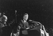 Mid-term Elections Framed Prints - President Kennedy Speaks At Bean Feed Framed Print by Everett
