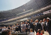 Leagues Prints - President Kennedy Throws Out First Ball Print by Everett