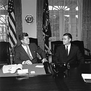 Cabinet Room Framed Prints - President Kennedy With Secretary Framed Print by Everett