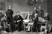 Emancipation Proclamation Drawings Prints - President Lincoln and His Cabinet Print by War Is Hell Store