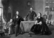 Patriot Drawings Framed Prints - President Lincoln And His Family  Framed Print by War Is Hell Store