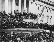 Us Presidents Photo Framed Prints - President Lincoln gives his second inaugural address - March 4 1865 Framed Print by International  Images