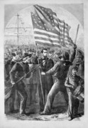 Abraham Lincoln Prints - President Lincoln holding the American Flag Print by War Is Hell Store