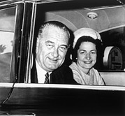 President And First Lady Framed Prints - President Lyndon B. Johnson And First Framed Print by Everett