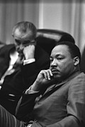 Mlk Prints - President Lyndon Johnson And Martin Print by Everett
