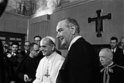 Popes Prints - President Lyndon Johnson At The Vatican Print by Everett