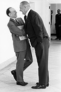 Body Language Posters - President Lyndon Johnson Bends Poster by Everett