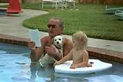 Candid Family Portraits Posters - President Lyndon Johnson Celebrates Poster by Everett
