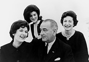 First Lady Photo Framed Prints - President Lyndon Johnson Family Framed Print by Everett