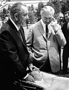 Lyndon Photos - President Lyndon Johnson Gives German by Everett