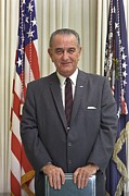 Oval Office Prints - President Lyndon Johnson In The Oval Print by Everett