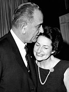 First Lady Acrylic Prints - President Lyndon Johnson Kisses Acrylic Print by Everett