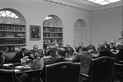 Cabinet Room Framed Prints - President Lyndon Johnson Meets With The Framed Print by Everett