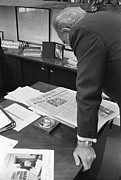Candid Portraits Prints - President Lyndon Johnson Reading Print by Everett