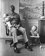 Candid Family Portraits Posters - President Lyndon Johnson Sings With Dog Poster by Everett