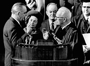 First Lady Photo Framed Prints - President Lyndon Johnson Takes The Oath Framed Print by Everett