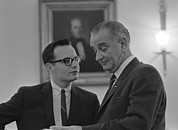 Moyers Posters - President Lyndon Johnson, Talking Poster by Everett