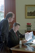Reagan Framed Prints - President Meeting With Michael Deaver Framed Print by Everett