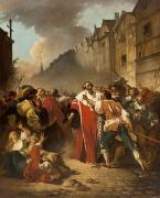 Mob Painting Prints - President Mole Manhandled by Insurgents Print by Francois Andre Vincent