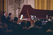 Jazz Singers Framed Prints - President Nixon Playing The Piano Framed Print by Everett