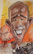 President Washington Drawings - President Obama by AJ Williamson