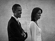 Michelle Obama Photo Framed Prints - President Obama and First Lady BW Framed Print by David Dehner
