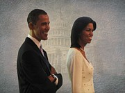 Michelle-obama Posters - President Obama and First Lady Poster by David Dehner
