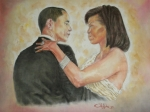 Embracing Painting Originals - President Obama and First Lady by G Cuffia