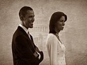 Michelle-obama Posters - President Obama and First Lady S Poster by David Dehner