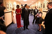 Presidents Wives Framed Prints - President Obama And Michelle Obama Wait Framed Print by Everett