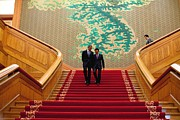 Asian-americans Posters - President Obama And President Lee Poster by Everett