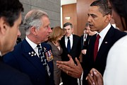 Obama Administration Framed Prints - President Obama And Prince Charles Talk Framed Print by Everett