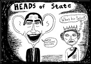 Jokes Drawings Originals - President Obama and Queen Elizabeth II by Yasha Harari