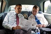 Foreign Policy Prints - President Obama And Russian President Print by Everett
