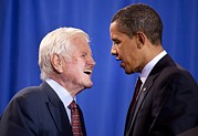 Ted Photo Framed Prints - President Obama And Ted Kennedy Framed Print by Everett