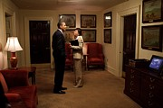 Obama Administration Prints - President Obama And Valerie Jarrett Print by Everett