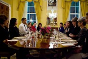 Powerful Women Framed Prints - President Obama Attends A Womens Dinner Framed Print by Everett